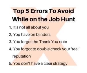 Job Hunt Errors